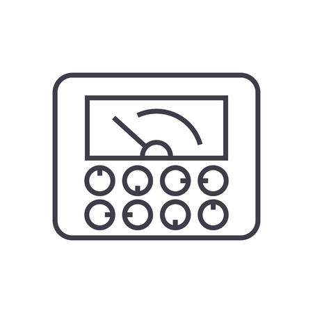 meetbare indicatoren, gauge vector lijn pictogram, teken, illustratie op witte achtergrond, bewerkbare lijnen