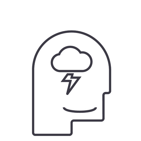 mind process,male head  vector line icon, sign, illustration on white background, editable strokes