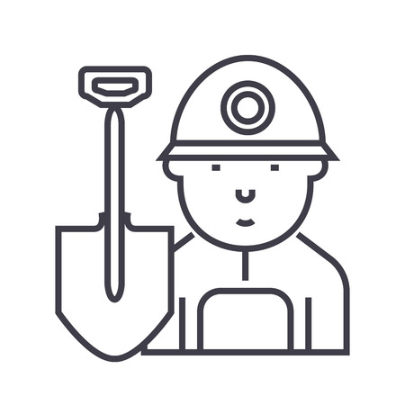 miner,worker vector line icon, sign, illustration on white background, editable strokes Illustration