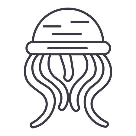 medusa vector line icon, sign, illustration on white background, editable strokes Illustration