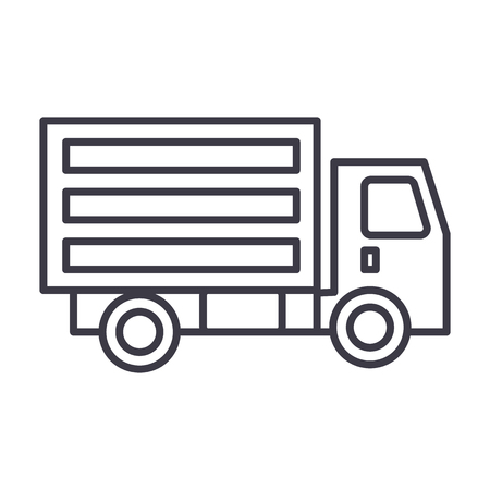 mini truck vector line icon, sign, illustration on white background, editable strokes