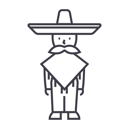 traje mexicano: mexican man,mariachi vector line icon, sign, illustration on white background, editable strokes Vectores