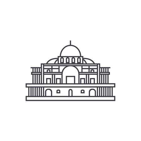 Icône de ligne vecteur mexicain cathédrale, signe, illustration sur fond blanc, coups modifiables Banque d'images - 87285113
