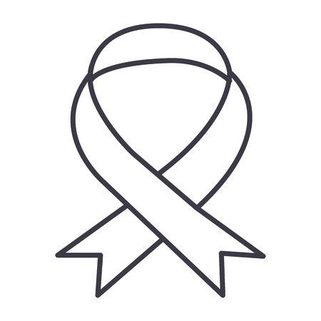 医療リボンベクトルラインアイコン、記号、白の背景にイラスト、編集可能なストローク