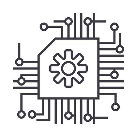 Esquema, ai, inteligência artificial ícone da linha de vetor, sinal, ilustração em fundo branco, traços editáveis Foto de archivo - 87285118
