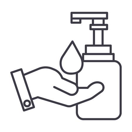 vloeibare zeep met hand vector lijn pictogram, teken, illustratie op witte achtergrond, bewerkbare lijnen