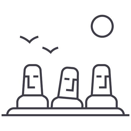 モノリス、メガリス ベクトル線アイコン、記号、白い背景に、編集可能なストロークの図