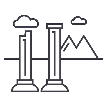 monuments of ruins vector line icon, sign, illustration on white background, editable strokes