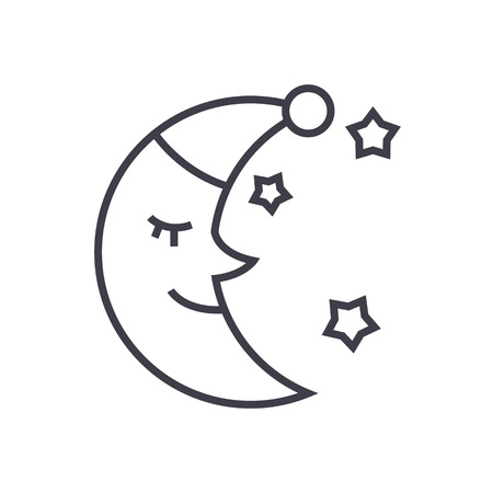 moon face, sleep time vector line icon, sign, illustration on white background, editable strokes