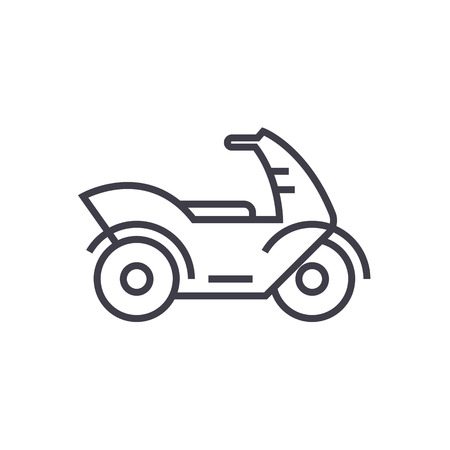 motorcycle,motorbike vector line icon, sign, illustration on white background, editable strokes Illustration