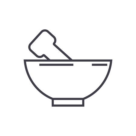 mortar and pestle vector line icon, sign, illustration on white background, editable strokes