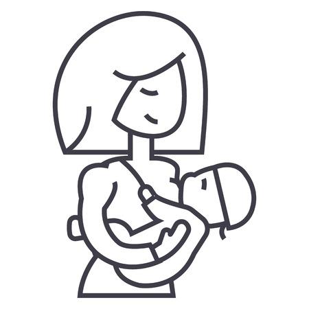 母親の母乳育児赤ちゃんベクトル線アイコン、記号、白い背景、編集可能なストロークのイラスト