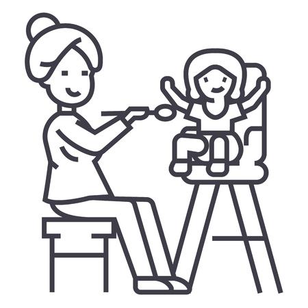 母の餌の子供ベクトルラインのアイコン、記号、白い背景のイラスト、編集可能なストローク
