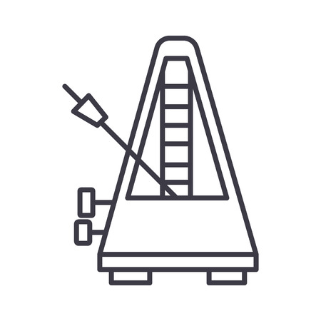 metronome vector line icon, sign, illustration on white background, editable strokes Ilustração