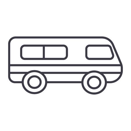 microbus,minibus vector line icon, sign, illustration on white background, editable strokes Stock Vector - 87285146