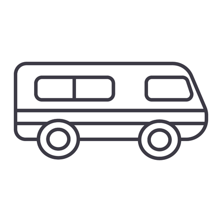 microbus,minibus vector line icon, sign, illustration on white background, editable strokes