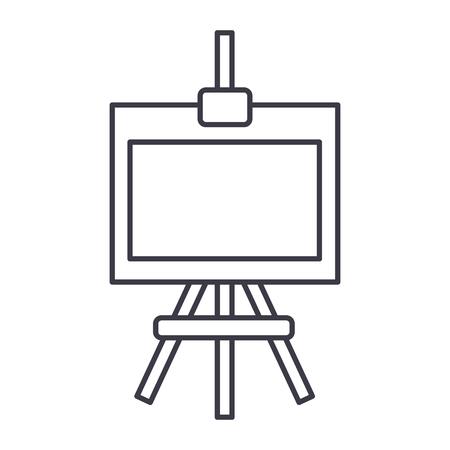 molbert vector line icon, sign, illustration on white background, editable strokes