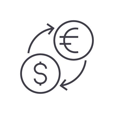 両替、ドル、ユーロ ベクトル線アイコン、記号、白い背景に、編集可能なストロークの図  イラスト・ベクター素材