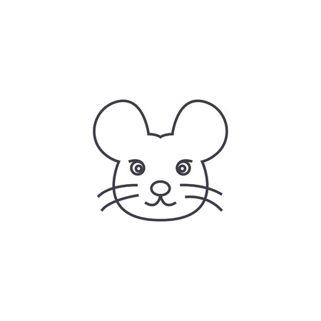 mouse head vector line icon, sign, illustration on white background, editable strokes Illustration