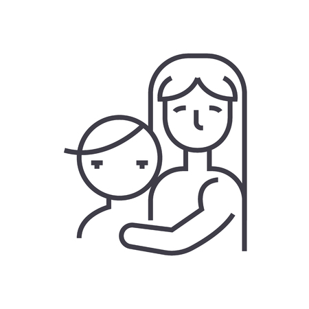 mother with child,motherhood vector line icon, sign, illustration on white background, editable strokes