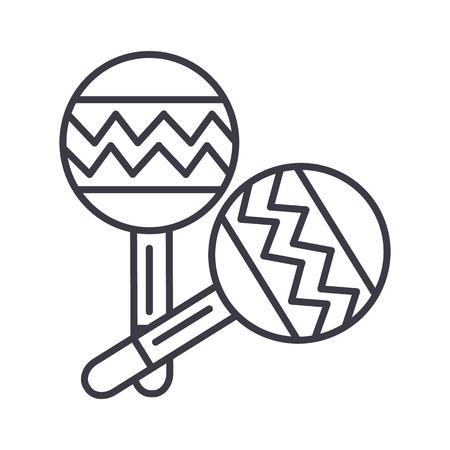 マラカス ベクトル線のアイコン, サイン, 白い背景に、編集可能なストロークの図