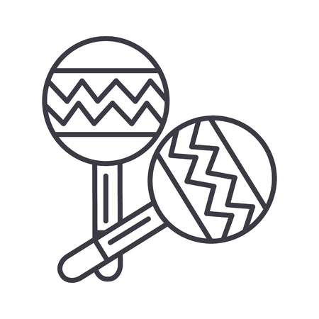maracas vector line icon, sign, illustration on white background, editable strokes Stock Photo