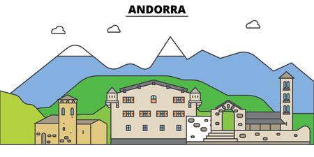 Andorra. Stadtskyline, Architektur, Gebäude, Straßen, Schattenbild, Landschaft, Panorama, Marksteine. Bearbeitbare Striche. Flaches Designlinie Vektor-Illustration Konzept. Isolierte Symbole Standard-Bild - 87662057