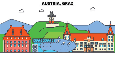 Austria, Graz. City skyline, architecture, buildings, streets, silhouette, landscape, panorama, landmarks. Editable strokes. Flat design line vector illustration concept. Isolated icons Illusztráció