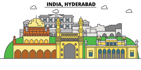 하이데라바드, 인도, 힌두교. 도시 스카이 라인, 아키텍처, 건물, 거리, 실루엣, 프리, 파노라마, 랜드 마크. 편집 가능한 스트로크. 플랫 디자인 라인 벡