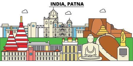 인도, 파트 나, 힌두교. 도시 스카이 라인, 아키텍처, 건물, 거리, 실루엣, 프리, 파노라마, 랜드 마크. 편집 가능한 스트로크. 플랫 디자인 라인 벡터 일 일러스트