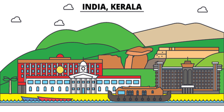 India, Kerala, Hinduism. City skyline, architecture, buildings, streets, silhouette, landscape, panorama, landmarks. Editable strokes. Flat design line vector illustration concept. Isolated icons Illustration
