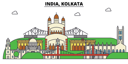 India, Kolkata, Hinduism. City skyline, architecture, buildings, streets, silhouette, landscape, panorama, landmarks. Editable strokes. Flat design line vector illustration concept. Isolated icons
