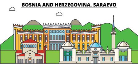 Bosnië en Herzegovina, Saraevo. Stadshorizon, architectuur, gebouwen, straten, silhouet, landschap, panorama, oriëntatiepunten. Bewerkbare lijnen. Platte ontwerp lijn vector illustratie concept. Geïsoleerde pictogrammen