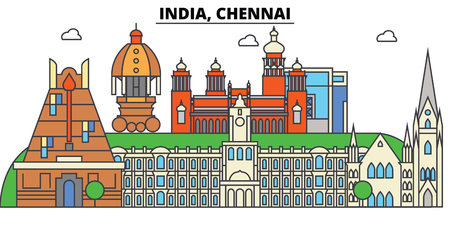 Chennai, India, Hinduism. City skyline, architecture, buildings, streets, silhouette, landscape, panorama, landmarks. Editable strokes. Flat design line vector illustration concept. Isolated icons Illustration