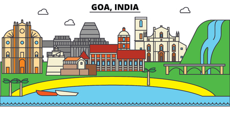 Goa, India, Hinduism. City skyline, architecture, buildings, streets, silhouette, landscape, panorama, landmarks. Editable strokes. Flat design line vector illustration concept. Isolated icons Illustration