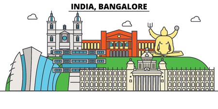 India, Bangalore, Hinduism. City skyline, architecture, buildings, streets, silhouette, landscape, panorama, landmarks. Editable strokes. Flat design line vector illustration concept. Isolated icons Illustration