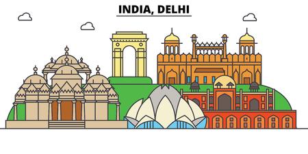 インド、デリー、ヒンドゥー教。街のスカイライン、アーキテクチャ、建物、通り、シルエット、風景、パノラマ、ランドマーク。編集可能なスト  イラスト・ベクター素材