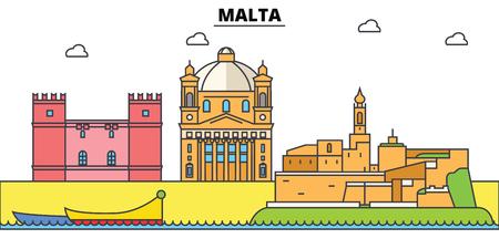 マルタ、地中海。街のスカイライン、アーキテクチャ、建物、通り、シルエット、風景、パノラマ、ランドマーク。編集可能なストローク。フラットなデザイン ラインのベクトル図の概念。分離アイコン