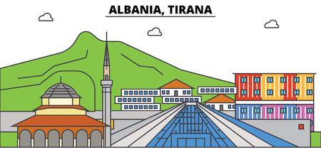 Albania, Tirana City skyline Stock Vector - 87673863