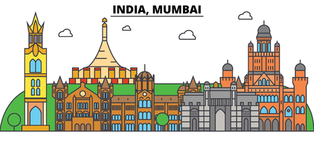 India, Mumbai, Hinduism. City skyline, architecture, buildings, streets, silhouette, landscape, panorama, landmarks. Editable strokes. Flat design line vector illustration concept. Isolated icons Stock Vector - 87664321