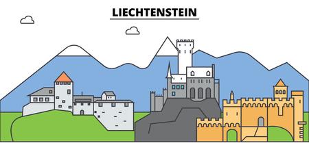 Liechtenstein skyline flat design line illustration concept.