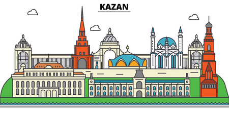 Russia, Kazan. City skyline, architecture, buildings, streets, silhouette, landscape, panorama, landmarks. Editable strokes. Flat design line vector illustration concept. Isolated icons