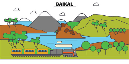 Russia, Baikal, lake. City skyline, architecture, buildings, streets, silhouette, landscape, panorama, landmarks. Editable strokes. Flat design line vector illustration concept. Isolated icons