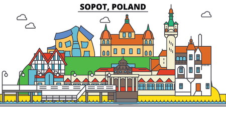 Poland, Sopot. City skyline, architecture, buildings, streets, silhouette, landscape, panorama, landmarks. Editable strokes. Flat design line vector illustration concept. Isolated icons Vectores