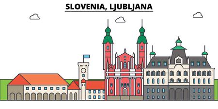 リュブリャナ、スロベニア。街のスカイライン、アーキテクチャ、建物、通り、シルエット、風景、パノラマ、ランドマーク。編集可能なストロー