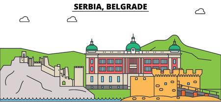 세르비아, 베오그라드. 도시 스카이 라인, 아키텍처, 건물, 거리, 실루엣, 프리, 파노라마, 랜드 마크. 편집 가능한 스트로크. 플랫 디자인 라인 벡터 일