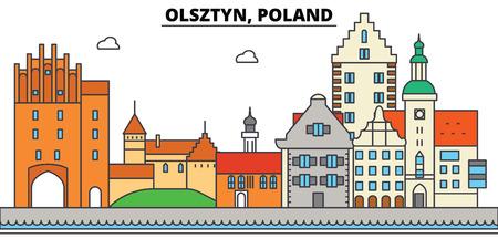 폴란드, Olsztyn. 도시 스카이 라인, 아키텍처, 건물, 거리, 실루엣, 프리, 파노라마, 랜드 마크. 편집 가능한 스트로크. 플랫 디자인 라인 벡터 일러스트  일러스트