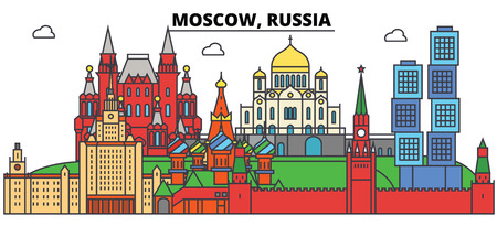 Russia, Moscow City skyline Illustration