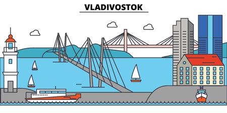 Russia, Vladivostok City skyline 일러스트
