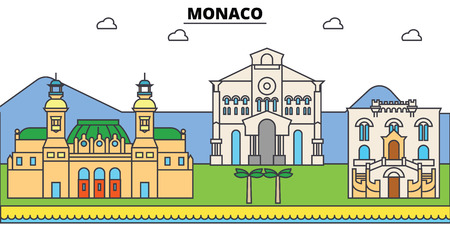 Monaco, Mediterranean sea. City skyline, architecture, buildings, streets, silhouette, landscape, panorama, landmarks. Editable strokes. Flat design line vector illustration concept. Isolated icons